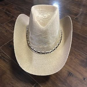 Tan Cowboy Hat With Adjustable Cord NWT